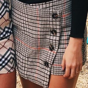 Brown plaid button skort